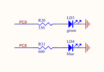 Screenshot of circuit diagram showing green and blue LED connections