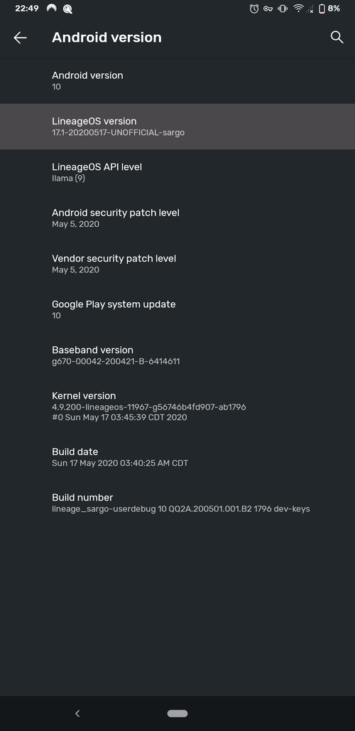 Screenshot showing the LineageOS version and other LineageOS settings on the Pixel 3a