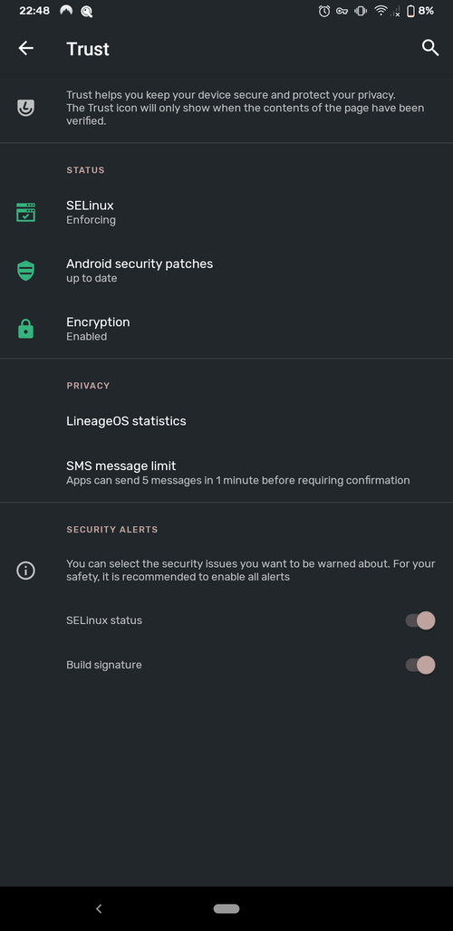 Screenshot showing the LineageOS Trust feature